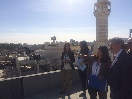 Minister of State John Halligan meets with UNRWA officials at Aida refugee camp, Bethlehem.