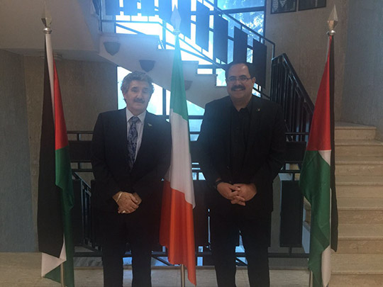 Minister of State John Halligan meets with Dr Sabri Saidam, Palestinian Minister for Education and Higher Education.