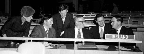 The single most iconic photograph of Ireland's first year in the United Nations captures the Irish delegation at their General Assembly seats. (left-right) Sheila Murphy, Conor Cruise O'Brien, Paul Keating, F.H. Boland, Eamonn Kennedy and Liam Cosgrave, 21 November 1956 (UN Photo Library, 87885)
