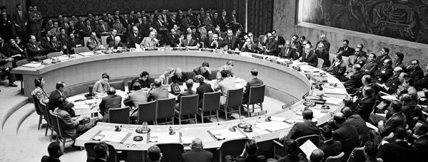 The Security Council meets to consider proposals to admit new members, including Ireland, 10 December 1955 (UN Photo Library, 68472)